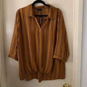 Striped roll tab blouse